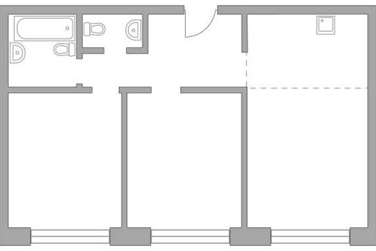 3-комн квартира, 70.38 м2, 6 этаж