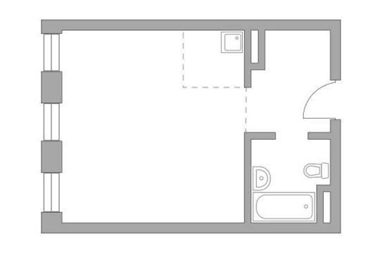 Студия, 33.89 м2, 15 этаж