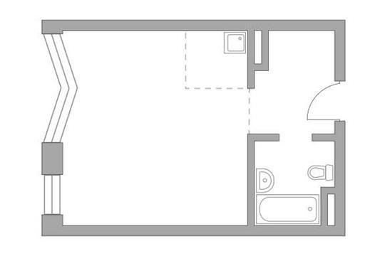 Студия, 32.83 м2, 19 этаж