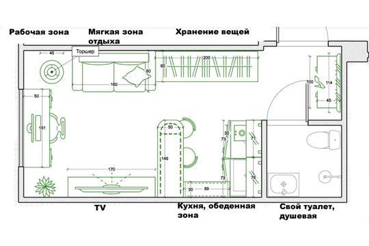 Студия, 18.8 м2, 1 этаж