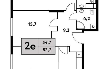 2-комн квартира, 82.2 м2, 5 этаж