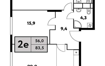 2-комн квартира, 83.5 м2, 27 этаж