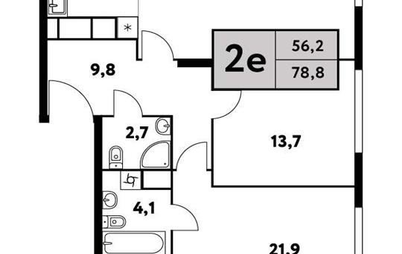 2-комн квартира, 78.8 м2, 27 этаж