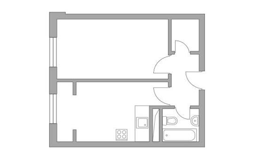 1-комн квартира, 38.39 м2, 3 этаж