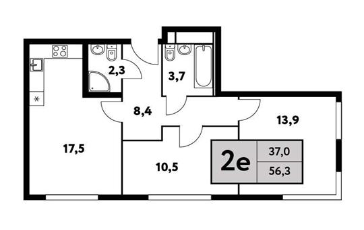 2-комн квартира, 56.3 м2, 3 этаж