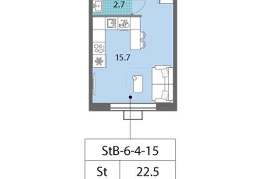 Студия, 22.5 м2, 12 этаж