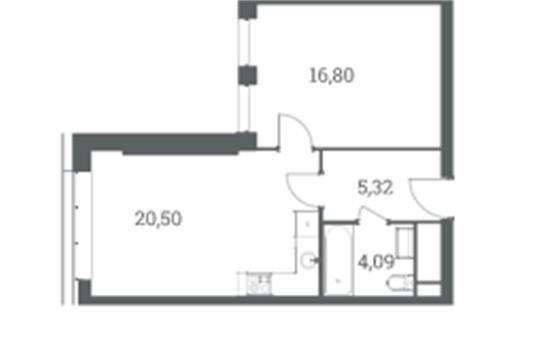 1-комн квартира, 46.71 м<sup>2</sup>, 32 этаж_1