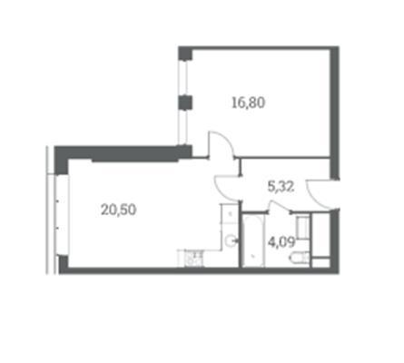 1-комн квартира, 46.71 м2, 32 этаж - фото 1