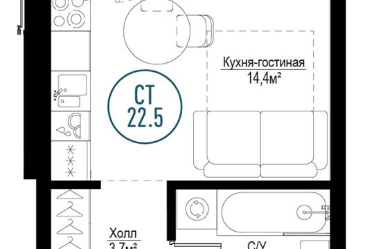 1-комн квартира, 22.5 м2, 8 этаж