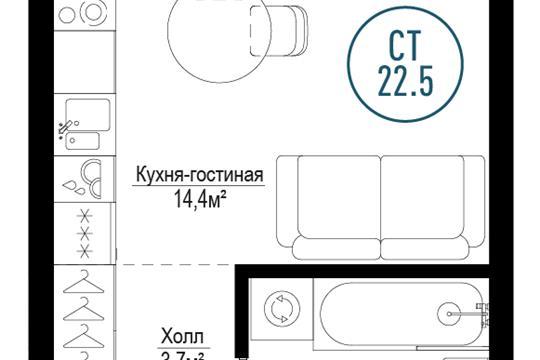 1-комн квартира, 22.5 м2, 6 этаж