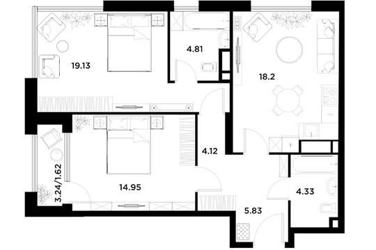 2-комн квартира, 72.99 м2, 12 этаж