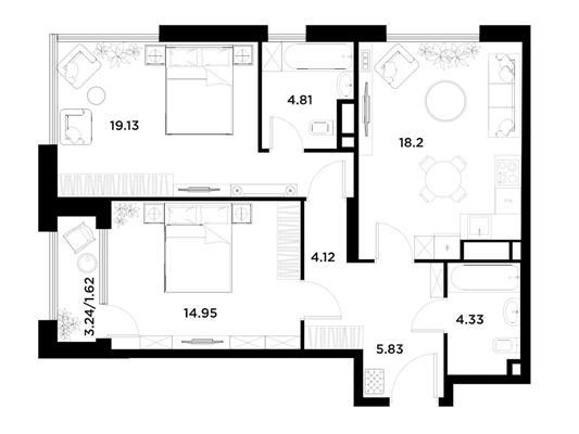 2-комн квартира, 72.99 м2, 12 этаж - фото 1