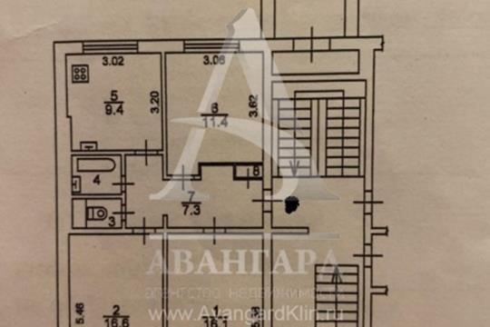 3-комн квартира, 64 м2, 1 этаж