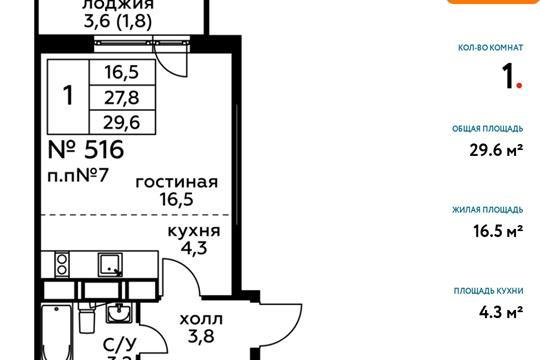 Студия, 29.6 м2, 8 этаж