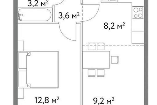 1-комн квартира, 37 м2, 6 этаж