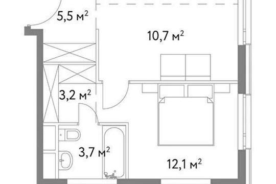 1-комн квартира, 45.8 м2, 2 этаж