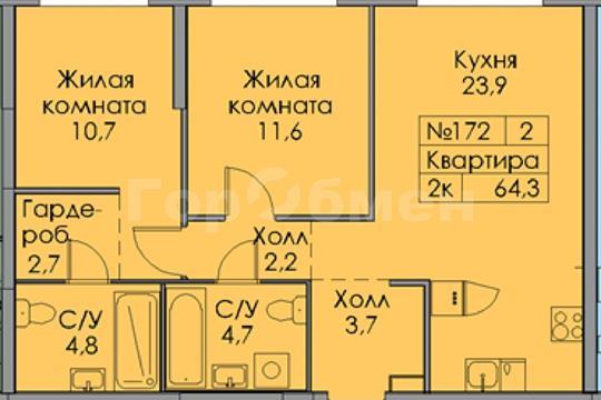 2-комн квартира, 64.3 м2, 19 этаж