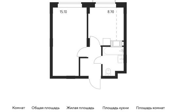 1-комн квартира, 31.4 м2, 14 этаж