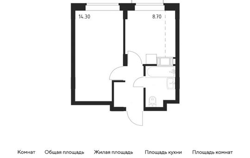 1-комн квартира, 30.6 м2, 12 этаж