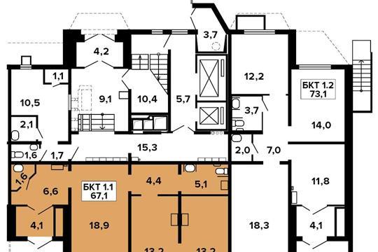 Офис, 68.6 м2, класс B