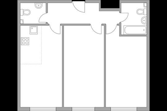 3-комн квартира, 60.8 м2, 11 этаж