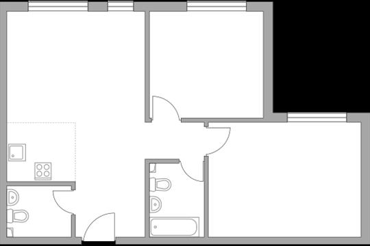 3-комн квартира, 62 м2, 26 этаж