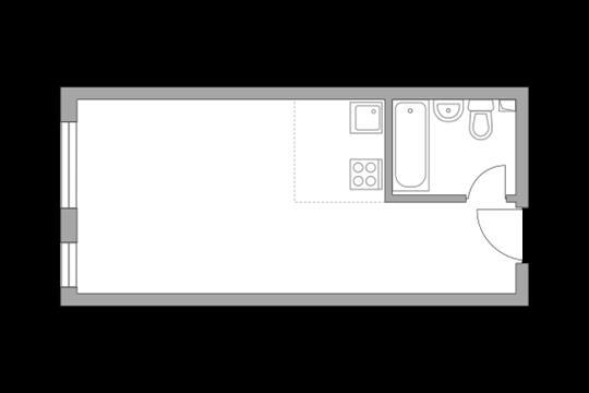 1-комн квартира, 26.4 м2, 26 этаж
