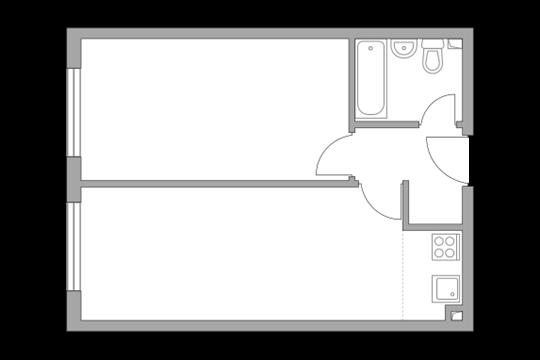 2-комн квартира, 44.1 м2, 26 этаж
