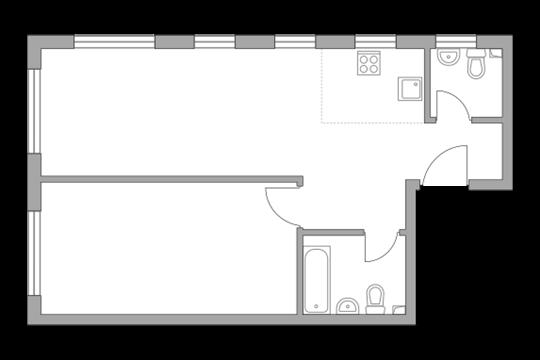 2-комн квартира, 49.8 м2, 26 этаж