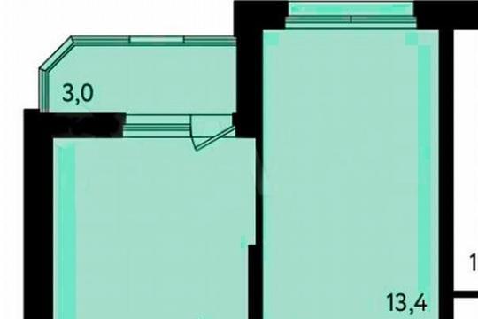 1-комн квартира, 39.4 м2, 9 этаж