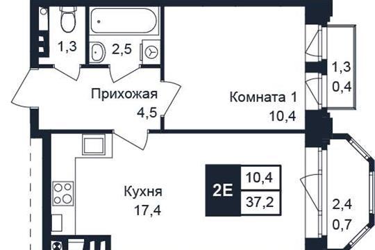 1-комн квартира, 37.2 м2, 2 этаж