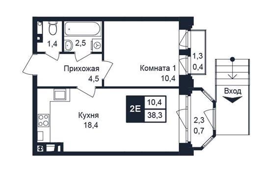1-комн квартира, 38.3 м2, 1 этаж