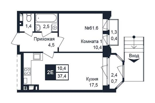 1-комн квартира, 37.4 м2, 1 этаж