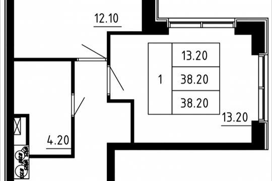 1-комн квартира, 37.16 м2, 12 этаж