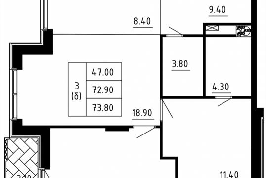Студия, 71.94 м2, 12 этаж