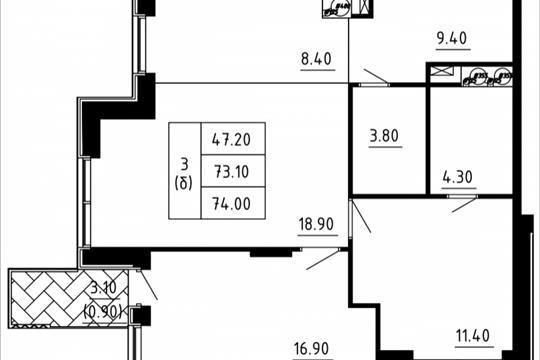 Студия, 71.94 м2, 9 этаж