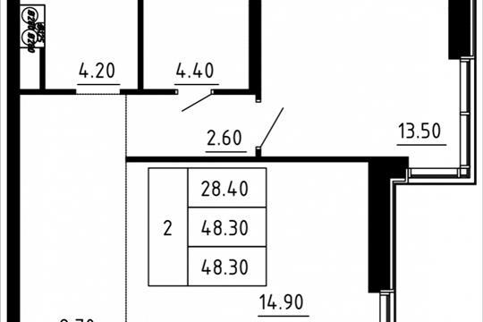 Студия, 47.05 м2, 8 этаж