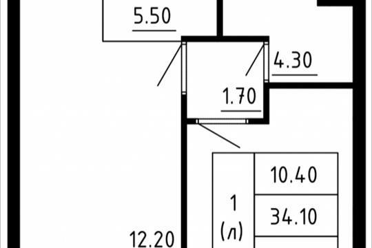 1-комн квартира, 34.52 м2, 10 этаж