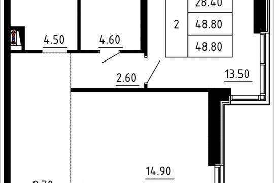 Студия, 47.41 м2, 2 этаж