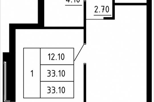 1-комн квартира, 32.26 м2, 12 этаж
