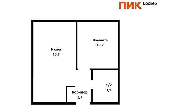 1-комн квартира, 36.5 м2, 15 этаж