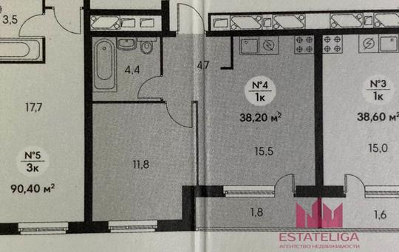 1-комн квартира, 35 м2, 15 этаж