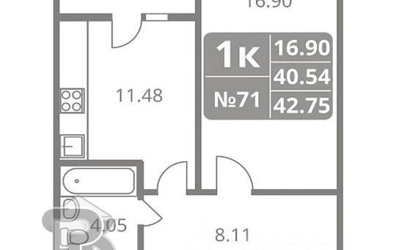 1-комн квартира, 43 м2, 7 этаж