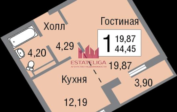 1-комн квартира, 44.4 м2, 2 этаж